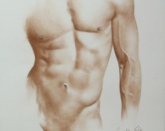 Male Nude Sketch, Order Male Nude, Handmade Nude, Erotic Drawing, Erotic Sketch Art, Male Nude Picture, Sepia Male Nude, Made to Order 6/20