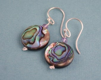 SALE!  Abalone and Amethyst Coin Earrings