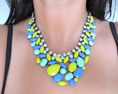 SALE- Hand Painted Rhinestone Bib Necklace