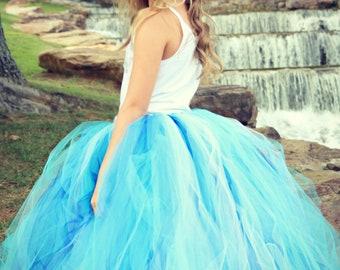 Cinderella Youth - Teen - Long Tutu Skirt - Aqua Blue Tutu - Snow Princess Tutu - Frozen Tutu - Flower Girl Tutu -  Bridesmaid