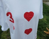 Upcycled Clothing Alice in Wonderland Custom 3 of Hearts Royal Cardsman T-Shirt (White with Red Painted Design)