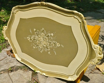 Florentine Tray, Tole Paint Tray, Platter, Regency Decor, Serving Tray, Italian, Green Tray, Floral, Servingware, Kitchenware, Platter