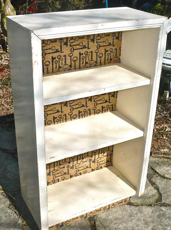 bookcase bookshelves decoupaged furniture cottage furniture burlap fabric decor rustic furniture burlap furniture
