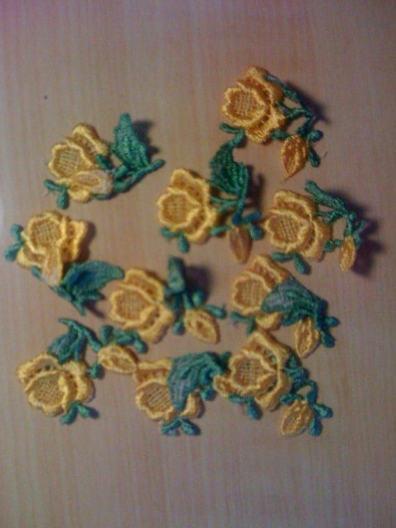 10 Sew on Yellow Embroidered Flowers A-5