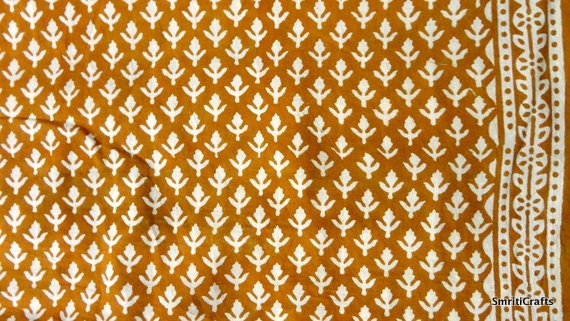 Indian fabric - cotton fabric - pure cotton block print in mustard yellow and beige with border