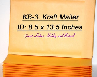 8 (Size 3) KB-3 Kraft Bubble Padded Envelope Mailers, 9 1/4 x 14 (OD) inches