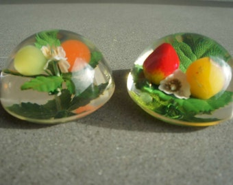Kitschy Vintage Lucite and Fruit Paperweights