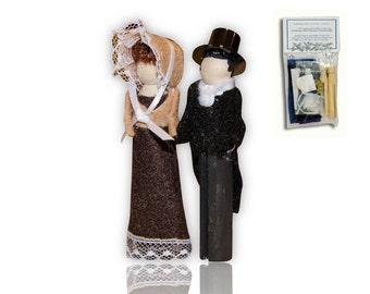 Jane Austen Clothespin Doll Ornament Kit: Elinor Dashwood and Edward Ferrars