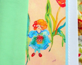 Tulip Girl Cards, Greeting Cards, Little Girl and Tulips Card, Art Print Cards, Kathleen Leasure, FromGlenToGlen