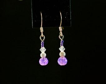 Tiny Purple Stardust Drop Earrings
