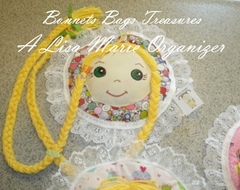Rapunzel Braids Barrette Holder Organizer green eyes blonde hair Bonnet has colorful circles Ready to hang