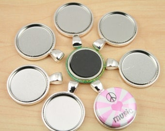 New larger size 10 deep well snap top one piece 18mm bezel 500 diy sturdy magnetic pendants for use with 1 inch button magnets create interchangeable aloadofball Images