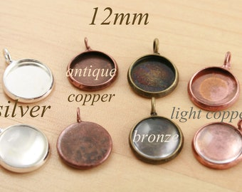 25 ct.12mm Charm Craft Kits-  PENDANT Style Earring Drops-Blank Bezel-great for charms, pendants, earrings- Ships from USA Optional add-ons