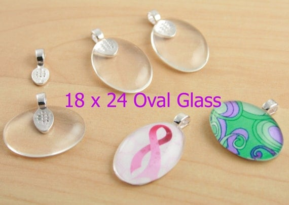 10 OVAL Glass Cabochons for Jewelry - Crystal Clear, Domes,18mm x 25mm Flat Back, Perfect for Pendants, Earrings, Rings - Ships from USA