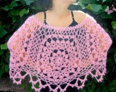 Pink Mohair Lace Chunky Crochet  Motifs Capelet Shawl Wrap  Women Ladys Bridal Bridesmaid Weddings