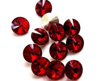 12 Siam 39ss Swarovski Rivoli Rhinestones-Loose Rhinestones-Bulk Rhinestones-Wholesale Rhinestones-Loose Crystals