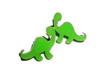 Dinosaur Stud Earrings, Kawaii Green Tiny Laser Cut Studs