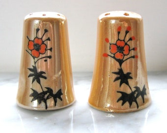 Lusterware Salt and Pepper Shakers with Handpainted Flower Signed/Numbered Japan Vintage