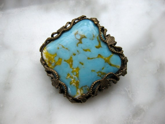 Turquoise Pin Brooch Jewelry Trends Style Refresh Vintage set in Bronze tone metal Art Nouveau Square Fashion