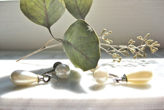 Pearl Drop Earrings White Wedding  Shabby Faux Silver Screw Backs Bridal Jewelry Chic