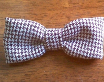 Brown and Ivory Houndstooth little boys  bow tie