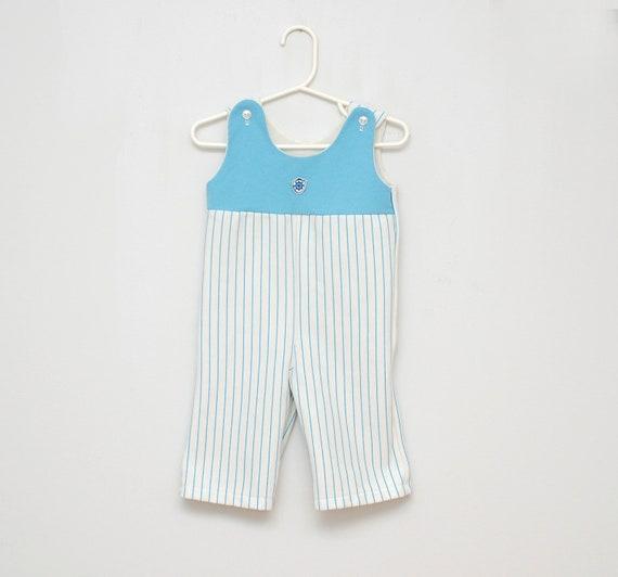 Vintage striped crested baby romper
