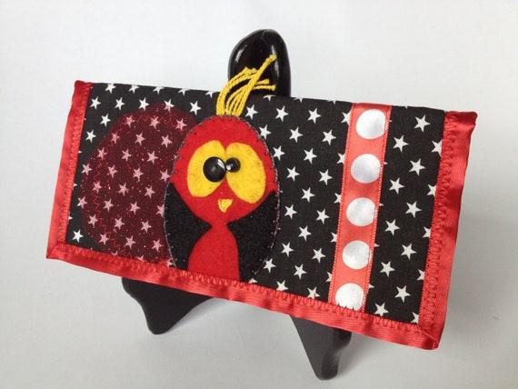 Felt Bird/Owl Purse/Wallet handmade accessory - Kawaii - black red white yellow