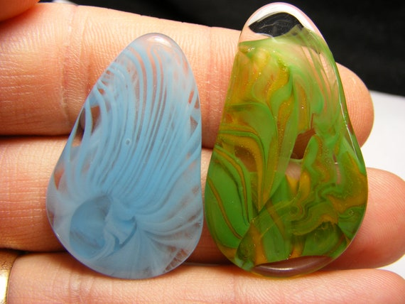 2 Glass guitar picks, organic form Flameworked borosilicate glass, Beale Street Memphis