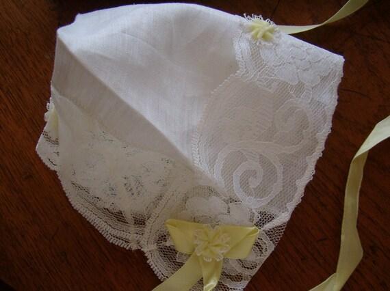 Linen Bonnet Handkerchief for Baby Shower and Wedding White