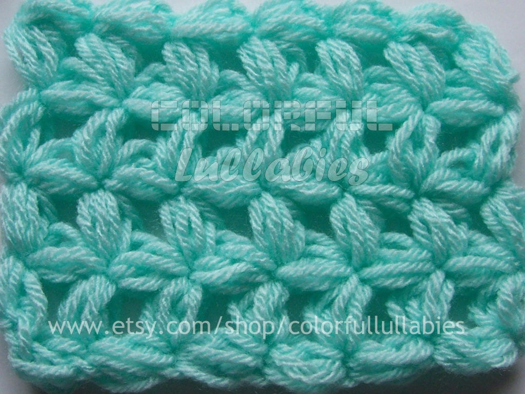 Crochet Jasmine Stitch In The Round : Puff 4-Petal Jasmine Stitch No 1. Pdf crochet by ColorfulLullabies