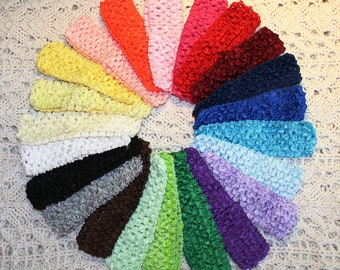 You Choose 20 Crochet Waffle Elastic Headbands - Great Colors - Interchangeable - Ships IMMEDIATELY