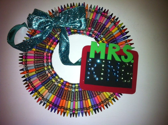 Crayon Wreath, Teacher Wreath, Teacher, Wreath, Crayon
