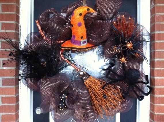 Lighted RAZ Halloween Wreath, Deco Mesh Wreath, Mesh Wreath, Wreath, Witch Wreath, Halloween Decor, Halloween Decoration, RAZ
