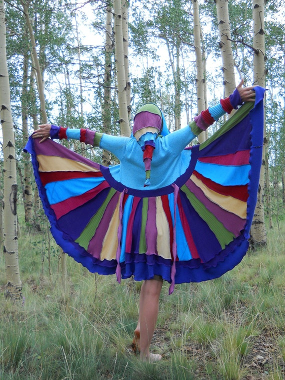 Handmade Upcycled Colorful Hippie Sweater Coat Recycled Sweaters XS/ S / M  OOAK (Wool Free)