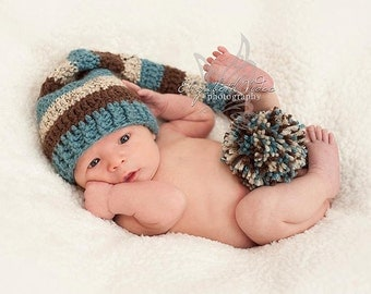 Newborn Baby Stocking Cap/Hat - Photo Props, Photography Props, Boys, Girls, Infant, Elf Hat, Striped Hat, (Available in Different Color)