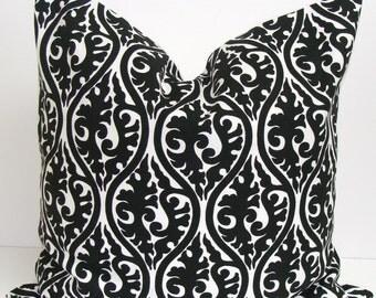 BLACK PILLOW.18X18 inch Decorative Pillow Cover.Home Decor.Housewares.Black Floral Pillow.Damask.Black Flowers.Cushion.cm Pillow.Filigree