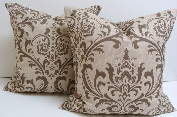 Damask Pillows.SET of TWO.18x18 inch.DISCONTINUED Fabric.Pillow Cover.Tone on Tone.damask.Printed Fabric Front and Back.Set of Pillows