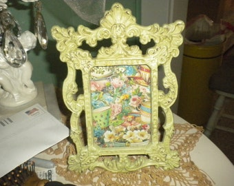 Green distressed Metal Frame,Shabby Chic,French Country,Cottage,Cottage Chic,Eclectic