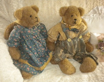 SALE.....Set of 2 Large Adorable Hand crafted Bunny Bears,Primitive,Nursery,One of a Kind,Country,Collectibles