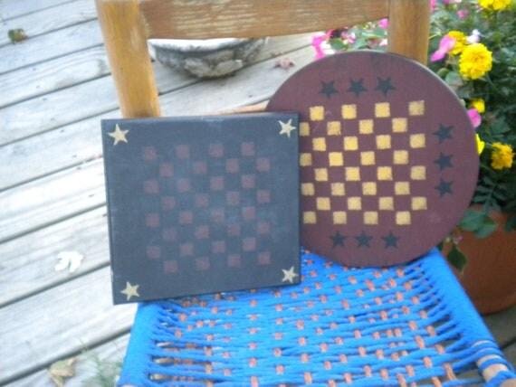 Two Primitive Game Boards, Country Decor,PrimitiveDecor,Home Decor