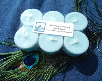Beach Linen Scented Soy Tea Light Candles Aqua 6pk
