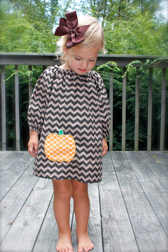 SIZES 6 & 7/8 ONLY great for fall toddler-girls long sleeve brown chevron dress with orange pumpkin applique