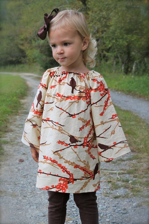 girls fall peasant dress with straight long sleeves in autumnal bird fabric- joel dewberry's AVIARY sizes 6 & 7/8 ONLY