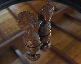 VINTAGE Set of Indonesian Wood Carved Figures Man and Woman