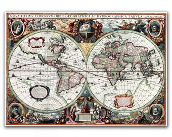 "13x17"" Antique World Map printed on parchment paper, Nova Totius Terrarum Orbis Geographica ac Hydrographica Tabula 1630 , Vintage map"