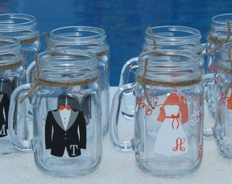 6 Mason Jars Personalized Bridesmaid and Groomsman Glasses.  Mason Jar with dress and tux.