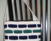 Crocheted White, Navy, and Green Subway Tile Inspired Tote