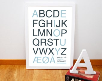 "Retro danish alphatbet poster, Nursery art print from Denmark, Mid century typography art print, Blue Pink 20 cm x 30 cm, 8"" x 12"""