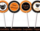 Printable Halloween Cupcake Toppers - DIY 2 inch Party Circles - Printable PDF File - Orange Black Spider Trick or Treat