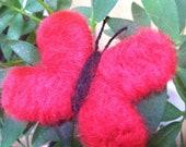 Deep red Brooch - Pinback Needle felted Butterfly - Handmade